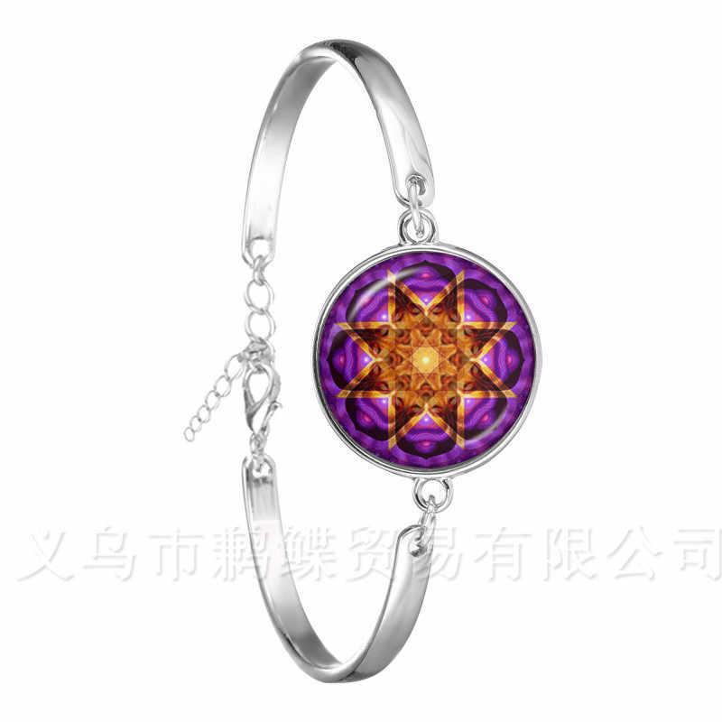 Ом, йога классический браслет мандала цветок жизни 18 мм куполовидный Кабошон из стекла Посеребренная цепь браслет для женщины мужчины подарок