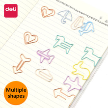 Deli Paper clip creative small fresh cute cartoon stationery student shaped colorful metal shape bookmark size number paper