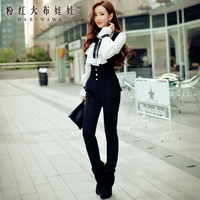 Оригинальный модный черный длинный комбинезон