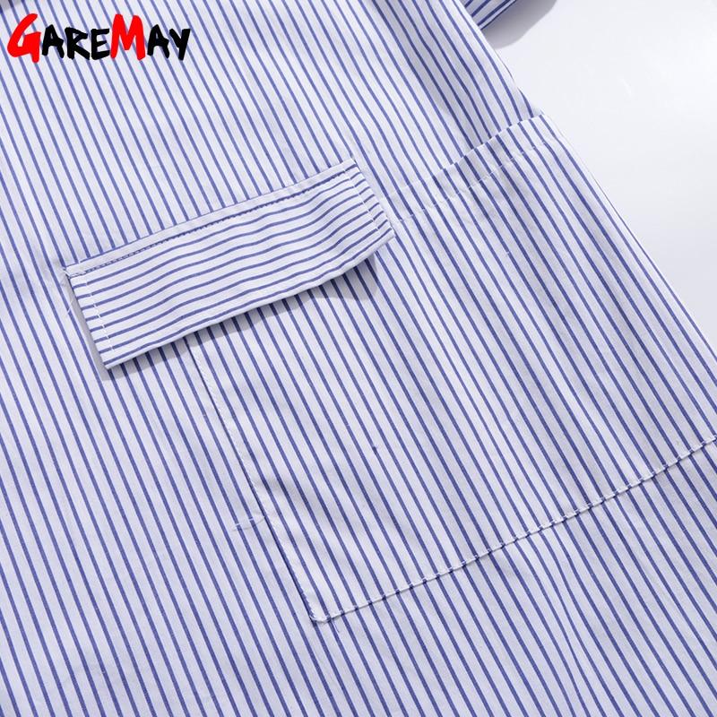 Skjorta klänning kvinnor randig mantel femme snörning tunika - Damkläder - Foto 5