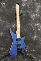 Factory quality Made brass Saddle bridge flamed maple top Blue Headless Electric guitar Guitarra all Color Available