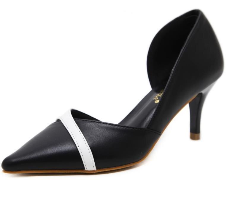Zapatos En Punta Negro Stiletto De Tacón 2018 Mujer Estilo Sexy blanco Alto Moda Coincidencia Verano Colores Nuevo Confort YYrq0Hw