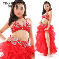 Kids Belly Dance Stage Performance Clothes Oriental Dance Outfit Beaded Bra Belt Skirt Girls Belly Dance Costumes Set Children