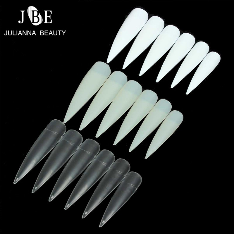 500pcs Nail Art Tips Clear/Natural/White Half Cover Long Sharp Stiletto False Fake Nails Tips Manicure Artificial Nail For Salon