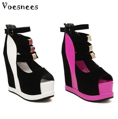 цена Women Platform Sandals 2018 Wedges 14cm Fish Mouth Color Matching Summer Sweet Woman Shoes High heel Sexy Ladies Shoes