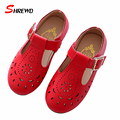 Kids Shoes Girls Spring 2017 New Fashion Hollow Pattern Girls Leather Shoes Solid Color Kids Shoes Insole 16-18.5cm 9613Z