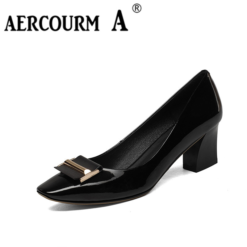 Aercourm a/Высокое качество Женская обувь Пояса из натуральной кожи осень новые летние Высокие каблуки квадратный носок Женские однотонные Обу...