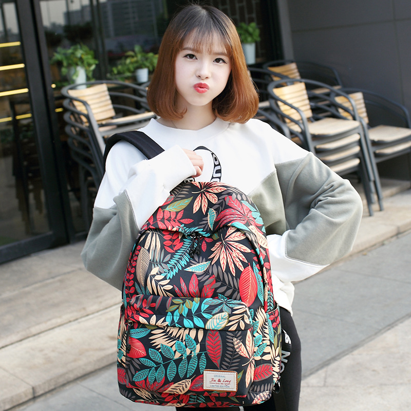 The New Han Edition Backpack School Students Bag Printing Large Capacity Contracted Joker Leisure Travel Bag
