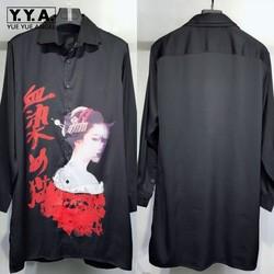 Gothic Heren Lange Harajuku Gedrukt Shirt 100% Echte Zijde Hoge Kwaliteit Runway Shirts Single Breasted Casual Loose Fit Tops Shirt
