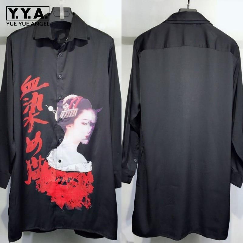 Gothic Mens Long Harajuku Printed Shirt 100% Real Silk High Quality Runway Shirts Single Breasted Casual Loose Fit Tops Shirt