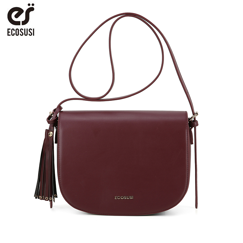 ECOSUSI 10.2 Inch Small Shoulder Bag For Women Messenger Bags Ladies Retro PU Leather Bag With Tassels Female Crossbody Bag
