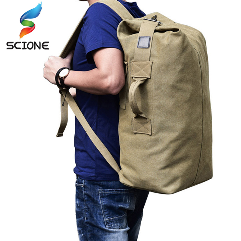 2017 Capacity Unisex Solid Color Canvas Backpack Casual Multifunctional Weekend Sports  Travel Bag Mountaineering Bag