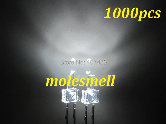 1000pcs New 2mm flat top White Water Clear LED Bright white Leds Light 2mm flat head