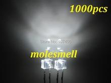 1000 adet yeni 2mm düz üst beyaz su temizle LED parlak beyaz LED ışık 2mm düz kafa kule led beyaz