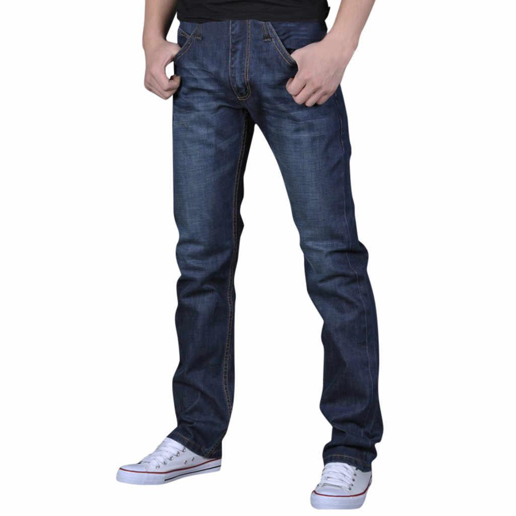 Slim Fit Denim Tergores Kualitas Tinggi Pria Murni Warna Denim Kapas Vintage Mencuci Hip Hop Bekerja Celana Jeans Celana ukuran Lebih Banyak