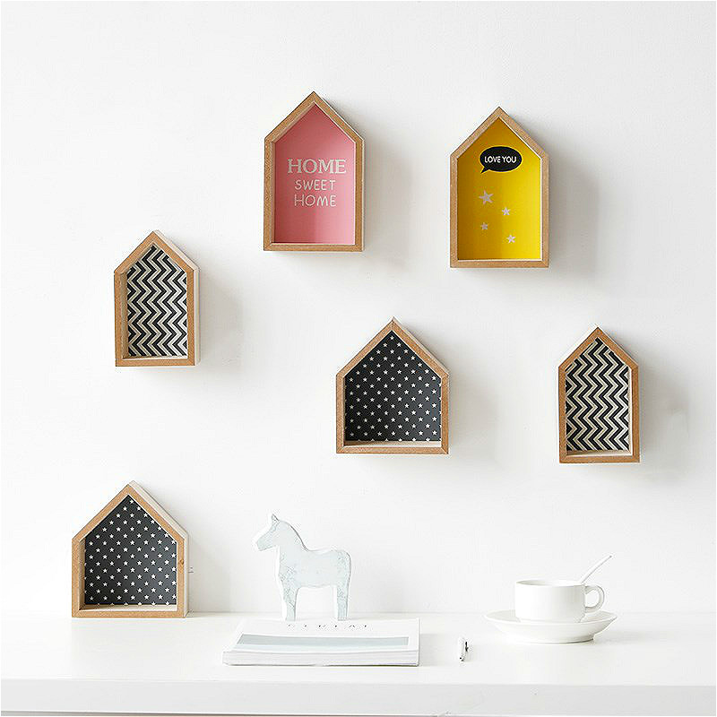 Baby Room Wooden Storage Rack Shelf Wall House Shape Decorations Nordic Candy Color Organization Hanger Photography Prop Shelves