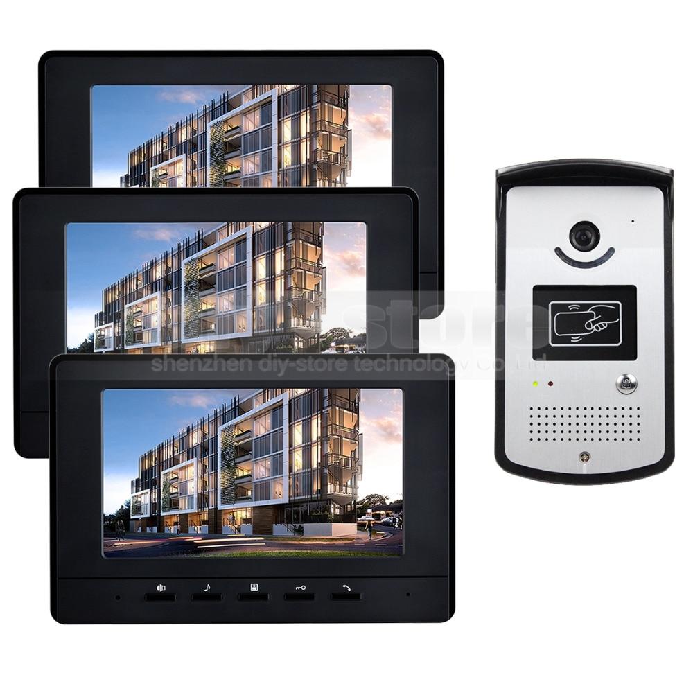 DIYSECUR 7 inch Video Door Phone Doorbell Home Security Intercom System RFID LED Night Vision Camera