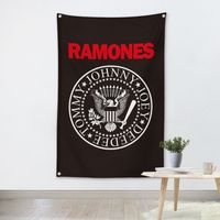 THE RAMONES Music Band Team Logo Cloth Poster Banners Four Hole Flag Dormitory Bedroom Wall Decoration
