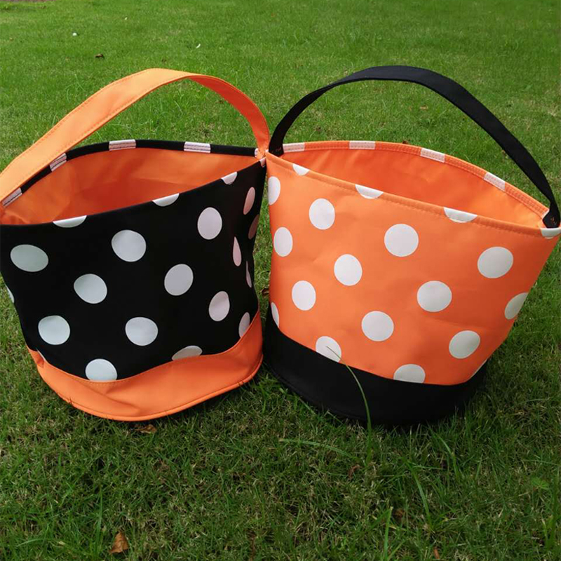 Wholesale Blanks 2017 Polka Dots Halloween Buckets Orange Black ...