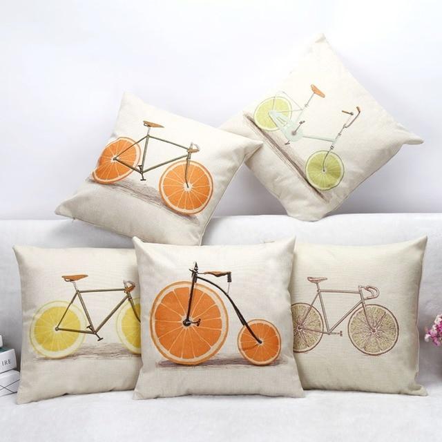 € 3.16  Mode orange vélo coussins linge housse de coussin creative fruits  oreiller couverture pour salon chambre chambre dans Housse de coussin de ...