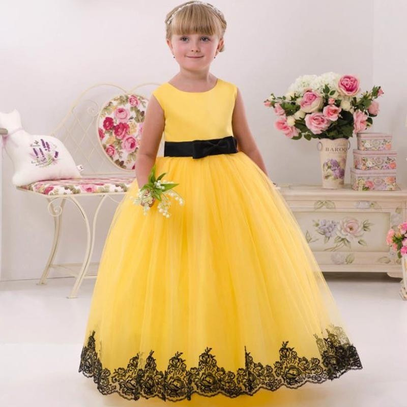 ФОТО Wedding Flower Girl Dress A-line Sleeveless Lace Appliques Yellow O-neck Back Zipper First Communion Dresses Vestidos Longo New