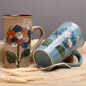 Image 1 - 손으로 그린 세라믹 컵 큰 머그잔 복고풍 커피 식기 개성 커플 창의력의 전체