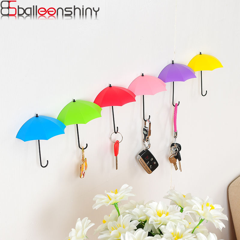 3pcs/lot Umbrella Shaped Storage Hook Creative Key Hanger Rack Decorative Holder Wall Hook Bathroom Accessory Kitchen Organizer