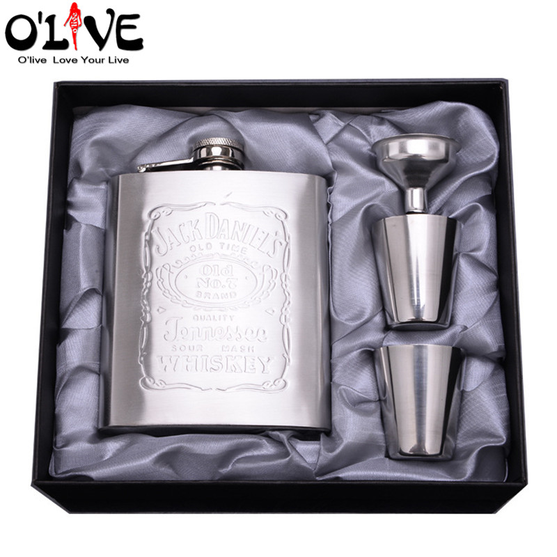 7 Oz Stainless Steel Hip Flask Set Portable Embossed Jack Daniels Flagon Drinkware Alcohol Drink Liquor