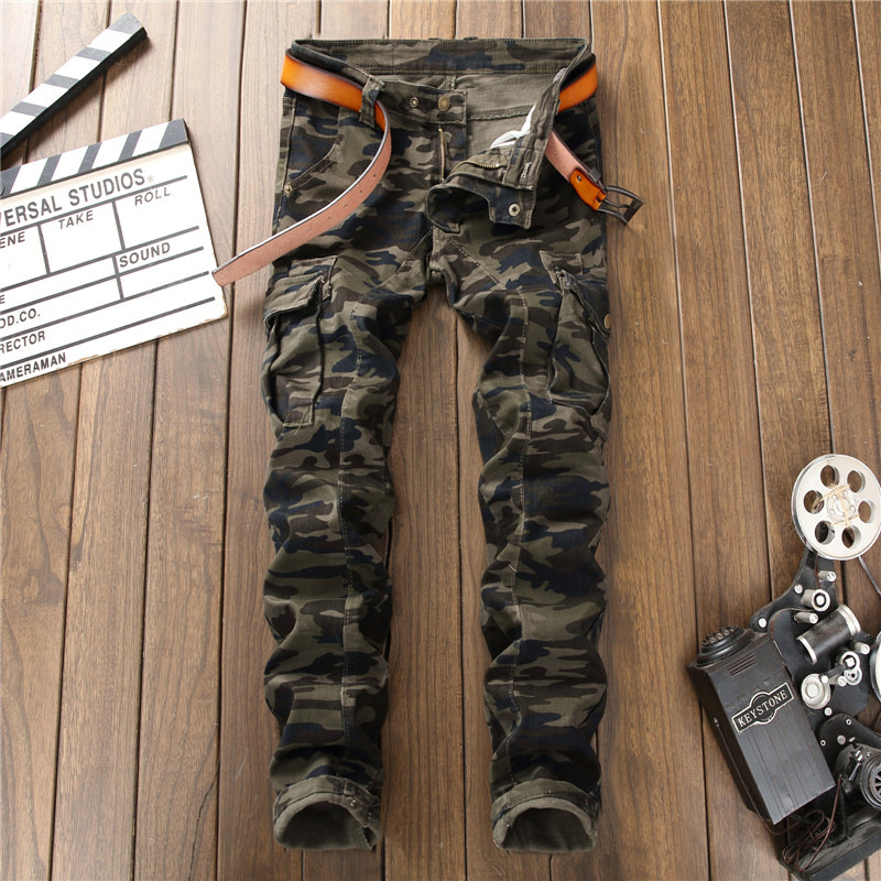 High Quality 2018 Mens Jeans Camouflage Skinny Punk Jean Patch Biker Hip Hop Winter Denim Men Party Mens Club Jeans Streetwear