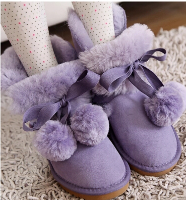 ФОТО Genuine Leather Winter Boots Women Female Lacing Up Medium-Leg Bow Cute Snow Boots With Balls Round Toe Plus Size 40