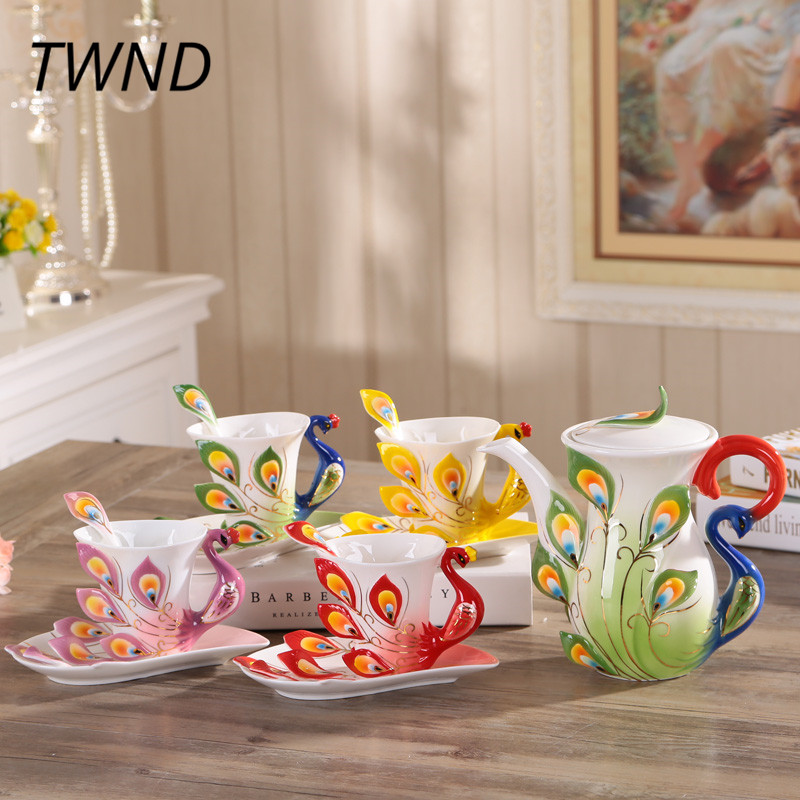 Bone china 3D peacock coffee pot cups sets Europe style coffeeware tea kettle mugs with saucer spoon drinkware lovers gifts