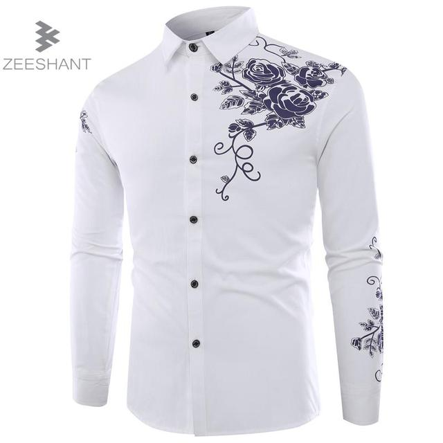 ZEESHANT Chemise Homme Fashion Men Shirt White Floral Print Design Slim Fit  Shirt Men Casual Long Sleeve Dress Shirts Clothing f7c9951c754