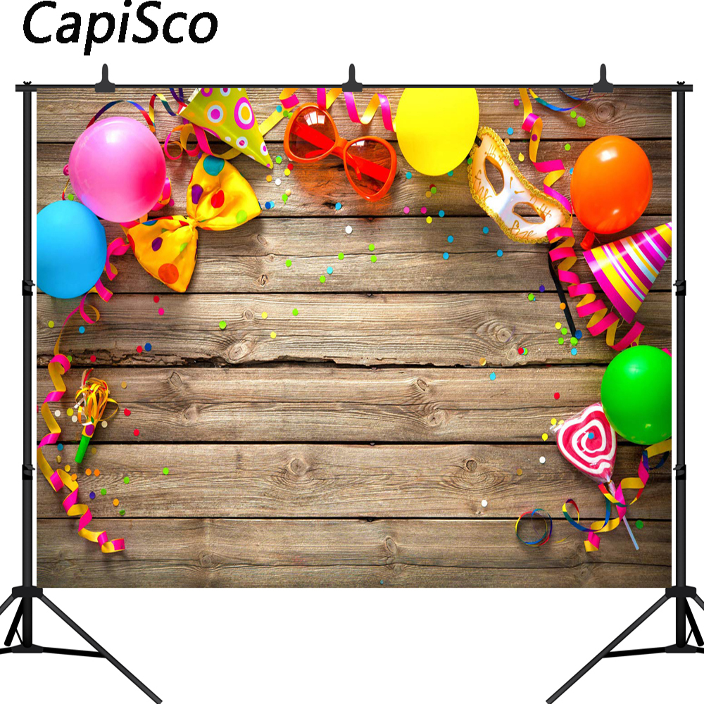 Capisco Colorful Birthday Carnival Party Items On Wooden Pictorial photo Photography Background Computer Printed Vinyl Backdrop
