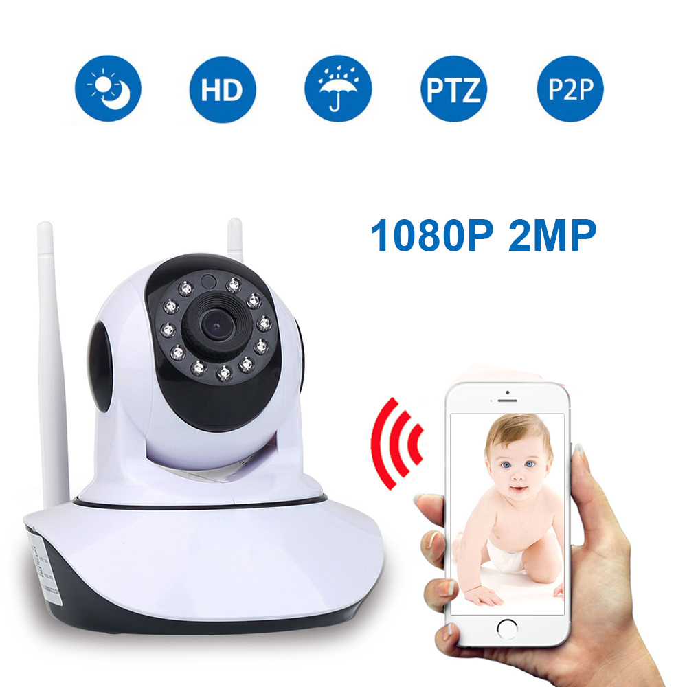 HD 1080P 2MP Home Security IP Camera Wireless Samrt Mini PTZ Audio Video Camara Nanny CCTV Wifi Night Vision IR Baby Monitor-in Surveillance Cameras from Security & Protection