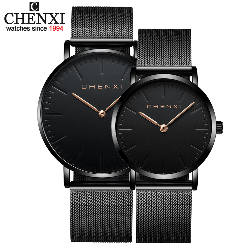 CHENXI Brand Fashion Lovers Wristwatches Women Dress Watches Women Quartz-Watch Men Casual Mesh Strap Ultra Thin Clock Watches skmei lovers quartz watches luxury men women fashion casual watch 30m waterproof simple ultra thin design wristwatches 1181