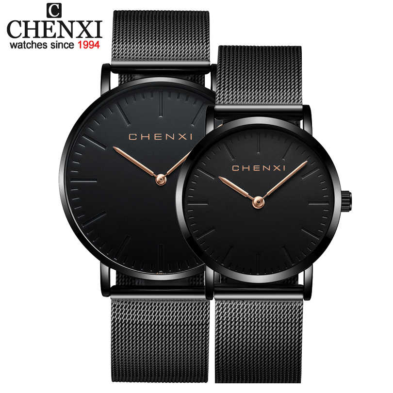 Relojes de pulsera marca CHENXI para amantes de la moda, relojes de vestir para mujer, relojes de cuarzo para hombre, relojes de pulsera informales de malla, relojes ultrafinos