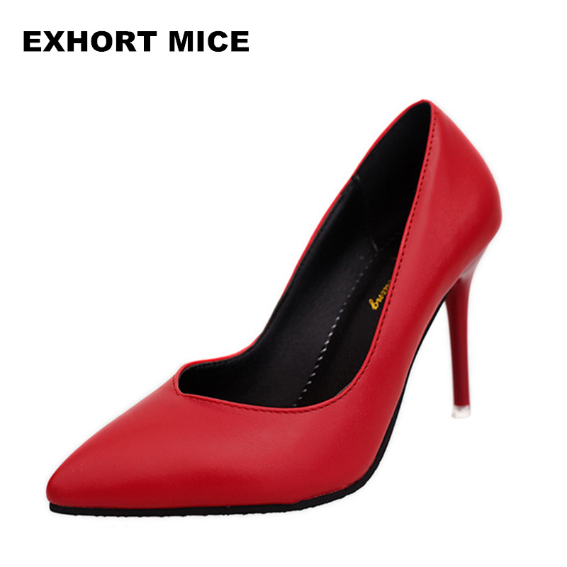 New 2018 Women pumps Fashion pointed toe patent leather stiletto high heels Spring autumn wedding shoes woman Zapatos Mujer spring autumn fashion pointed toe high heels solid causal women pumps shoes faux velvet female work pumps wedding shoes 302 1ve