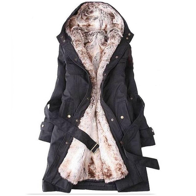 2015 Winter Cashmere Coat Women Black Warm Hooded Wool Coat Slim Fur Jacket  Overcoat Womens Winter Coats 449460251