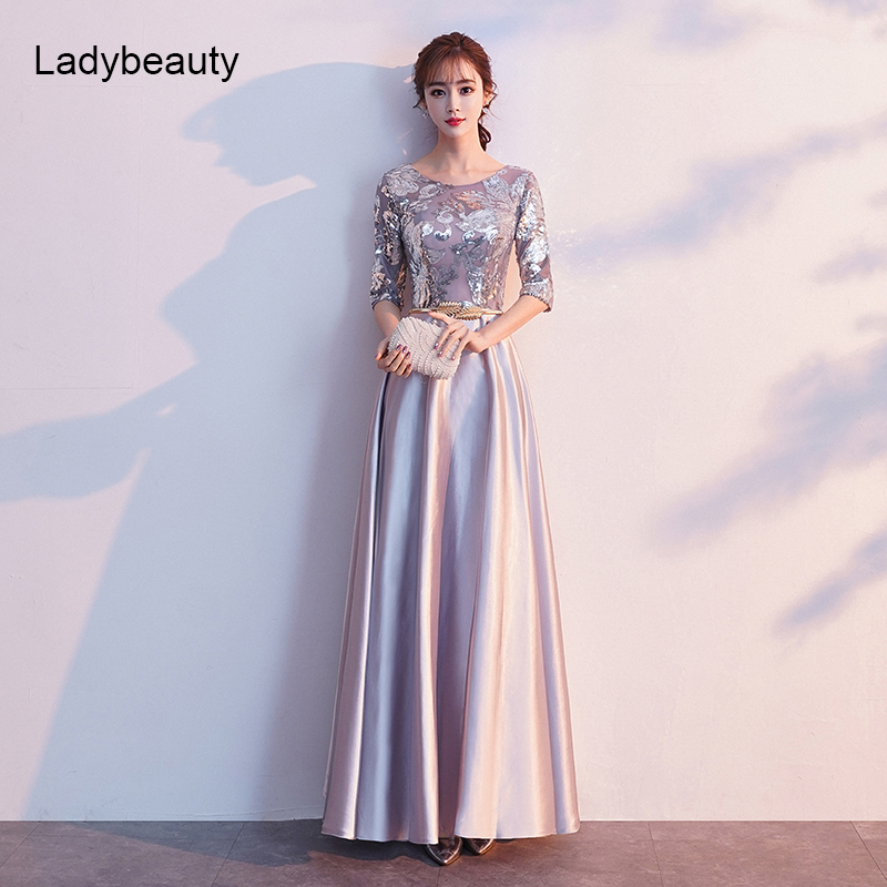 Ladybeauty 2019 A Line Sequins Evening Dress Long Prom Party Dresses Evening Gown Formal Dress Half