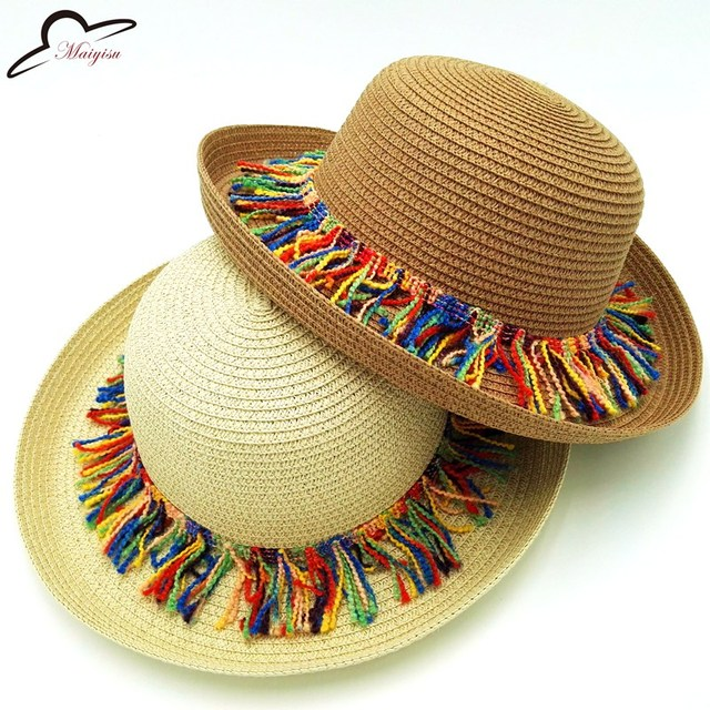 Colorful Style Tassel Balls Fold Sun Hats Women Cute Casual Style Solid  Pattern Type Beach Caps Ladies sombreros hat Girl 922844ec4da
