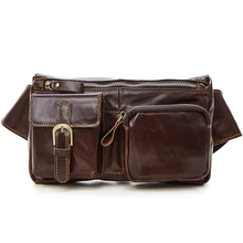 Large Male Genuine Leather Waist Bag men Pack Funny Belt Men Chain For Phone Pouch Bolso