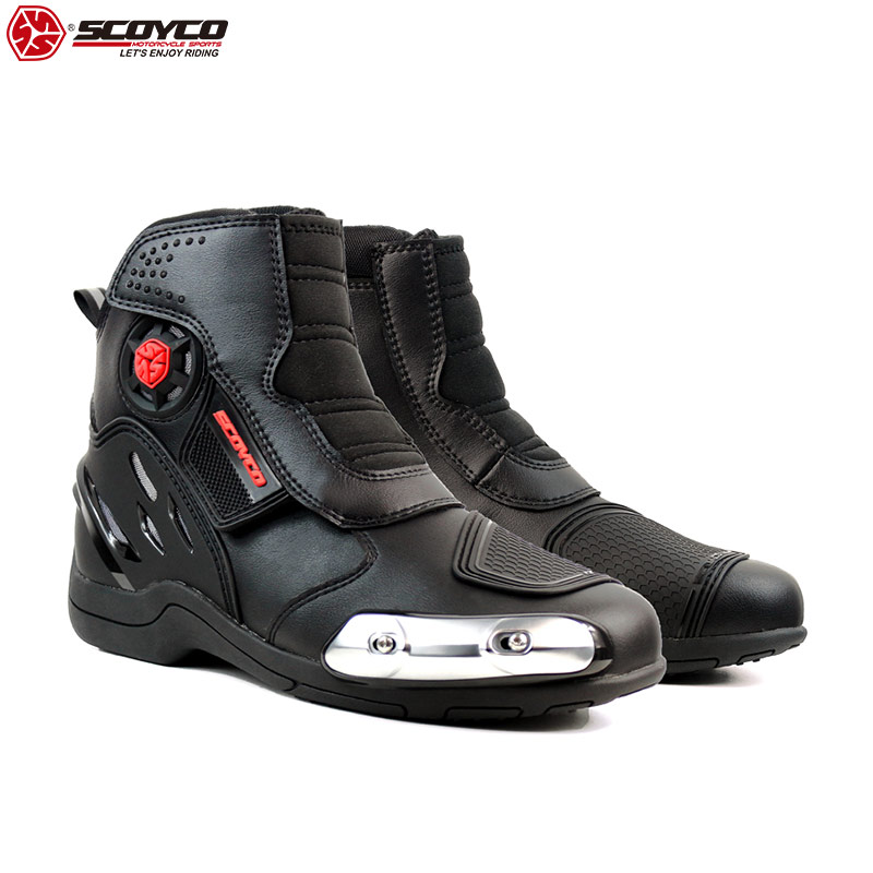 SCOYCO 2019 Motorcycle Shoes High Ankle Stainless steel slider Anti Skip Reflective Riding Tribe Boots Speed