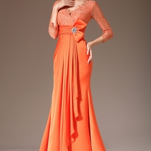 Formal Women's Dresses Mermaid 3/4 Sleeve Orange Chiffon Lace Mother