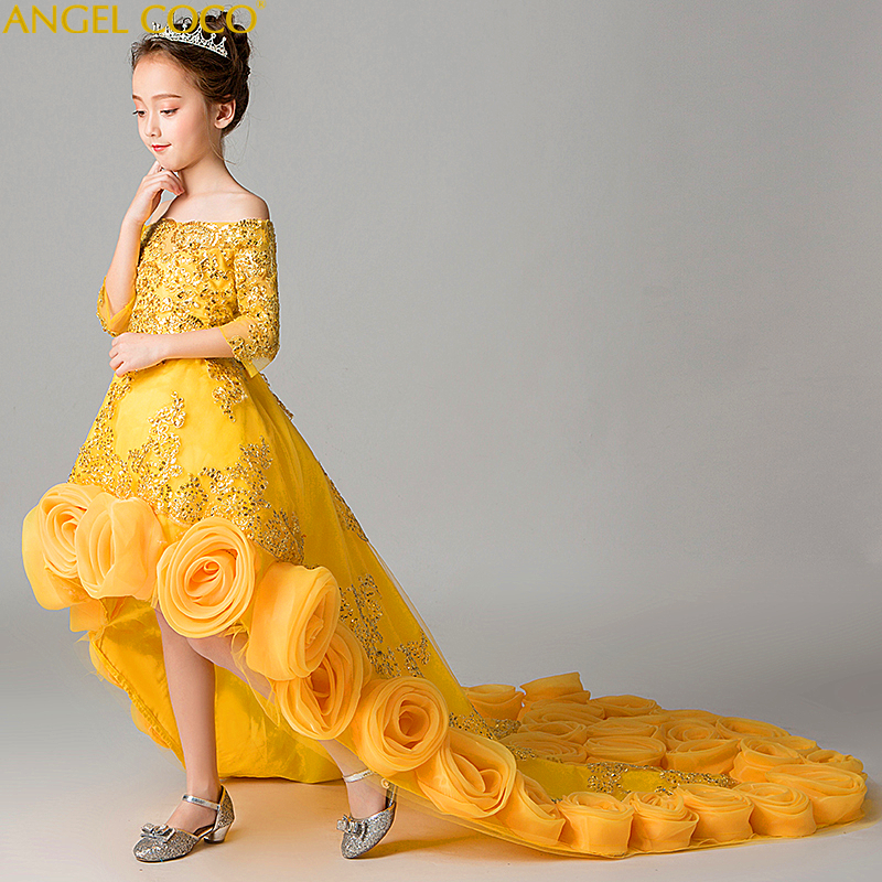 Cloud Yellow Long Flower S Dresses For Wedding Kids