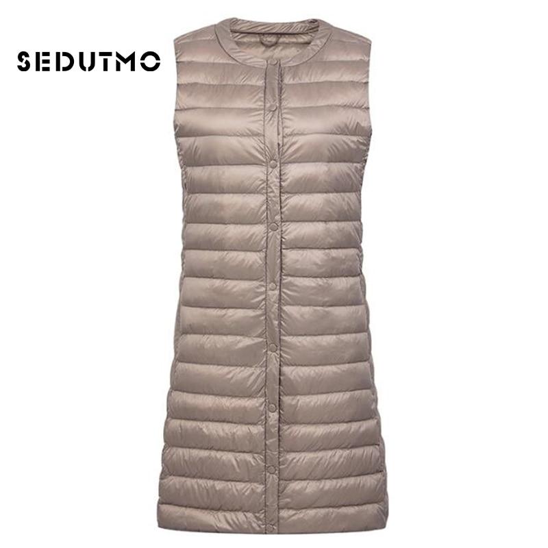 SEDUTMO Winter Plus Size 3XL Women Down Jackets Vest Long Ultra Light Duck Down Coat Autumn Puffer Coat Slim Parkas ED500