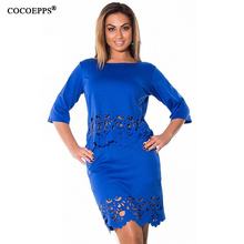 women Two Pieces dress summer Plus Big Large Size short sleeve dresses Elegant Sexy hollow out Dress clothes L-6xl Free shipping