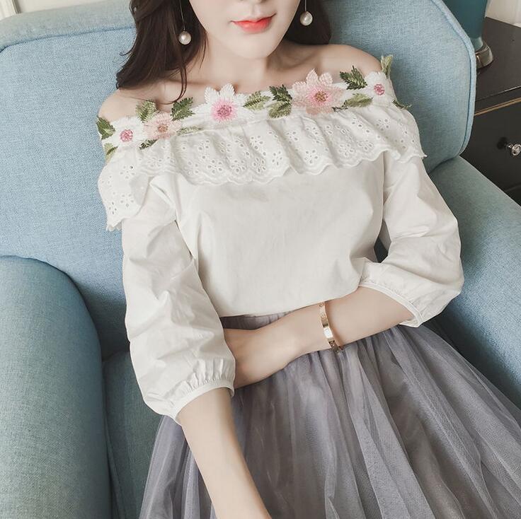 Corea mujeres de la manera flores bordado Volantes slash cuello sin tirantes de