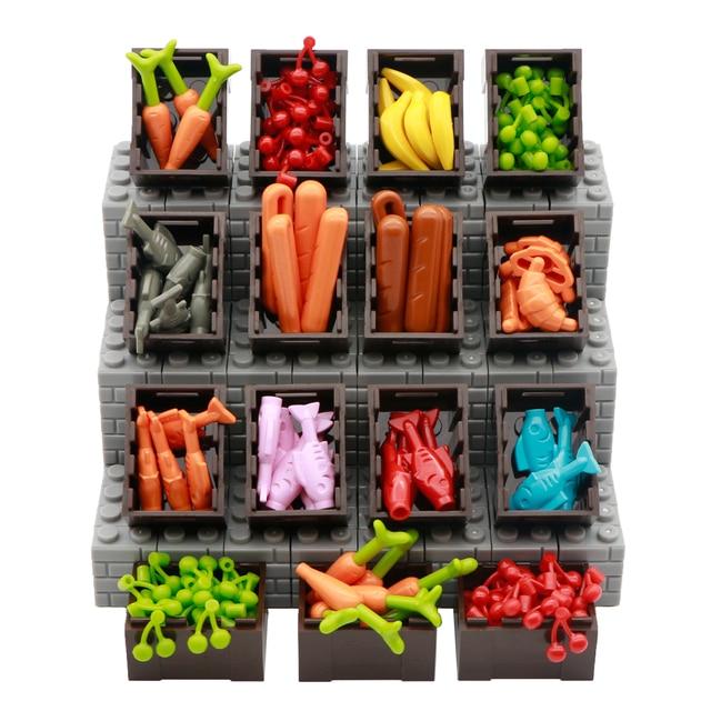 Amigos Acessórios Peças de Blocos de Construção de Frutas Cesta de Pão Comida de Peixe de Banana Cereja Figura Brinquedo Tijolo Compatível LegoINGlys Cidade