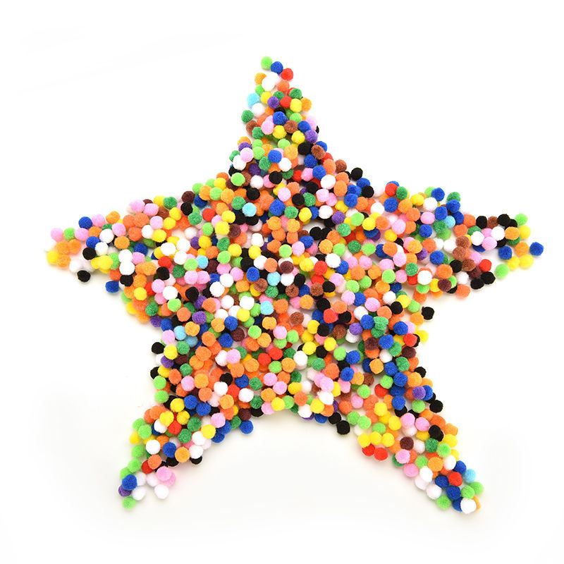 1000 Pcs Soft Fluffy Pom Pom for Kids Mixed Color Crafts Round Shaped Pompom 10mm