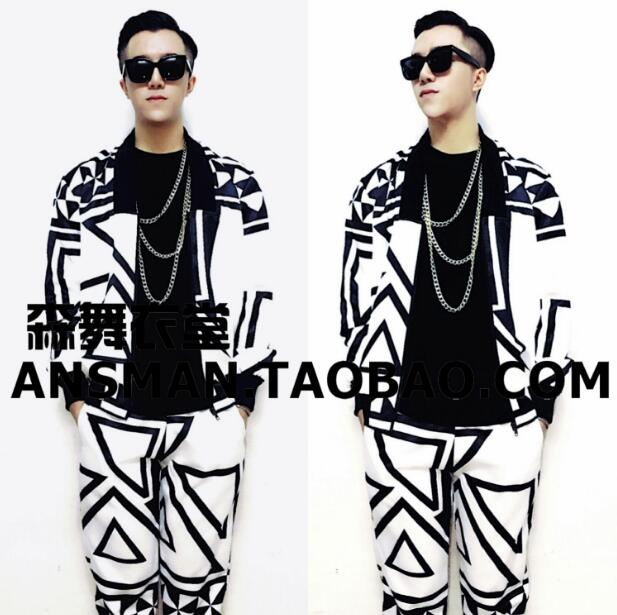 New hip hop fashion male singer male DJ GD with black and white geometric graphics exotic wind baseball uniform costumes M XXL